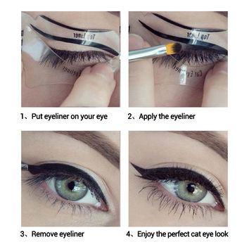 Smokey Eye Makeup Eyeliner Stencil Kit Eyeshadow Model For bottom liner eyes make up tool Eyeliner Card Auxiliary Eyebrow