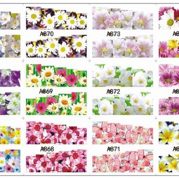 12 PACK/ LOT WATER DECAL NAIL ART NAIL STICKER SLIDER TATTOO FULL COVER BUTTERFLY ORCHID WHITE DAISY A865-876