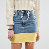 ASOS Denim Original Colour Block Skirt at asos.com
