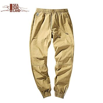 SeaSunLand army Pants Casual Skinny Zipper botton Sweatpants Solid Hip Hop high street Trousers Pants Men Joggers Slimming pants