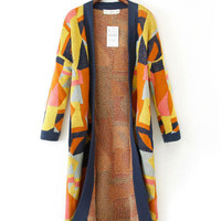 Geometric Pattern Long Sleeve Knit Sweater Cardigan