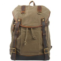 Simple Travel Laptop Bag Mental Buttons Leather Splicing Canvas Flap Hiking Backpack