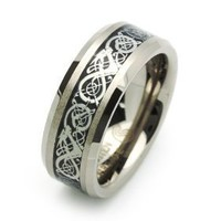 8MM Comfort Fit Tungsten Wedding Band Celtic Dragon Enlaid Ring For Men & Women ( Size 7 to 14)...
