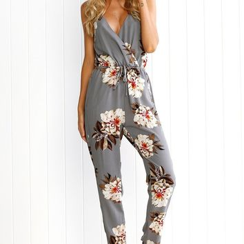 Flower Print Spaghetti Straps V-neck Long Back cross Jumpsuit