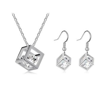 Hot Promotion 2014 New Product Happiness Cube Cubic Zirconia Necklace Pendants & Earring Fashion Jewelry Sets For Women Girls