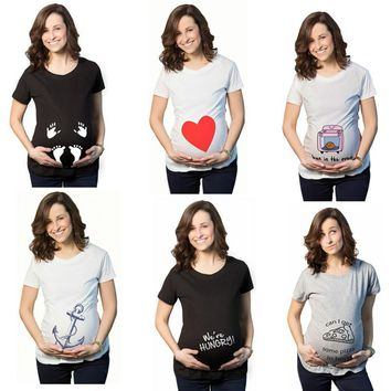 Summer Pregnant Maternity T Shirts Short Sleeve Casual Pregnancy Clothes Funny For Pregnant Women Marternity Clothing Tees Tops