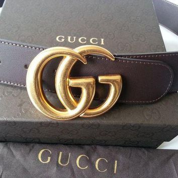PEAP91W Authentic Cocoa Brown Leather Gucci Belt w/Double G Buckle Gold 397660 Size 85