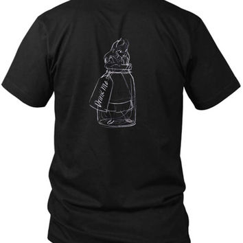 Drink Me Alice In Wonderland 2 Sided Black Mens T Shirt
