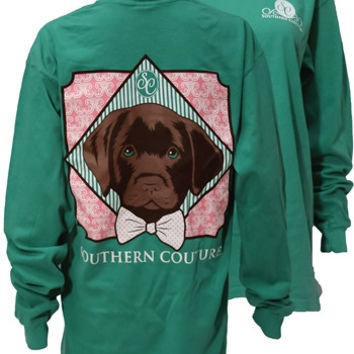 Southern Couture Preppy Lab Dog Bow Comfort Colors Grass Long Sleeve Girlie Bright T Shirt