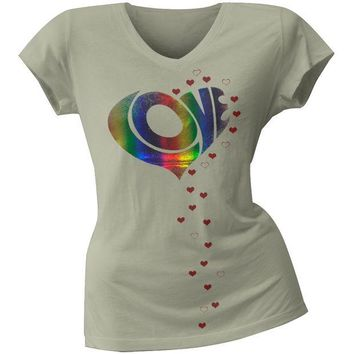 DCCKU3R 2 Love - Vanessa Hudgens Raining Love Juniors V-Neck T-Shirt