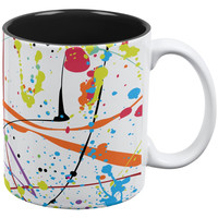 Splatter Paint White, White/Black All Over Coffee Mug