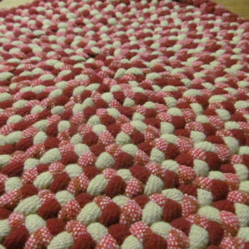 Handmade Braided Rug Unfinished Red Wool Braided Rug Piece Wool for Braided Rug Primitive Rustic Cabin Decor