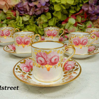 6 Beautiful Vintage Copeland Spode Demitasse Cups & Saucers ~ Pink Roses ~ Gold