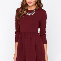 Diller Burgundy Long Sleeve Dress