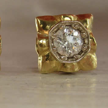 Vintage Fiery Old European Cut Diamond Stud Earrings .50 ctw 14k 585 Solid Gold Screw on Backs Pierced Art Deco