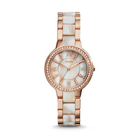 Virginia Three-Hand Stainless Steel Watch, Rose with Horn Acetate