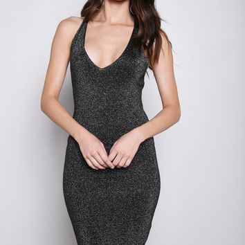 Plunging Cobweb Straps Midi Dress