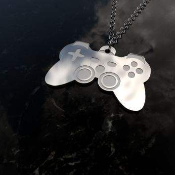 Gaming controller-video games-sterling silver pendant necklace