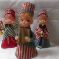 Set of Three Rare 1950s Pixie Elf Ornaments  (625)