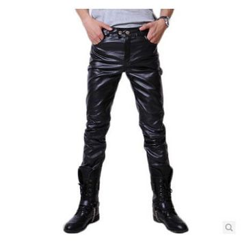 2015 Hip Hop Mens Black Leather Pants Faux Leather Pu Material Black Color Motorcycle Skinny Faux Leather Pants