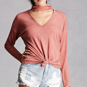 Choker Neck French Terry Top