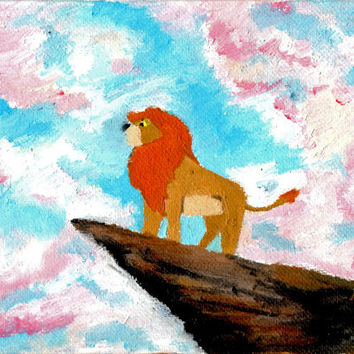 Pride Rock - Disney Painting, Simba, Mufasa, Canvas Disney Decor / Wall Art, Nursery Decor, Lions, Original Oil Painting, Pink and Blue