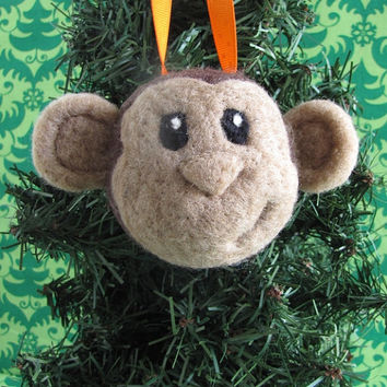 Needle Felted Monkey Christmas Ornament - MADE TO ORDER