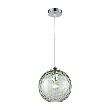 Watersphere 1 Light 10 inch Polished Chrome with Light Green Pendant Ceiling Light