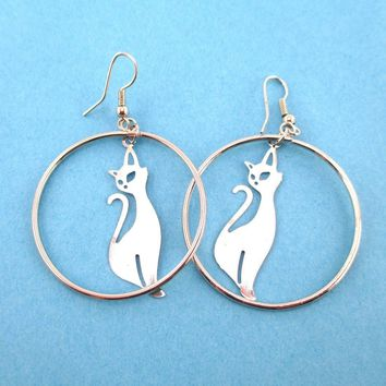 Kitty Cat Silhouette Filigree Cut Out Hoop Drop Earrings in Silver | DOTOLY