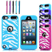 Black Zebra High Impact Armor Hard & Soft Rubber Hybrid Case iPod Touch 5th Gen