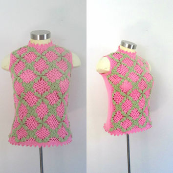 Mod Pink and Green Crochet Shell Tank Top