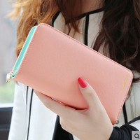 fashion high capacity wallets contrast color zipper clutch women's long design wallet purse freeshipping