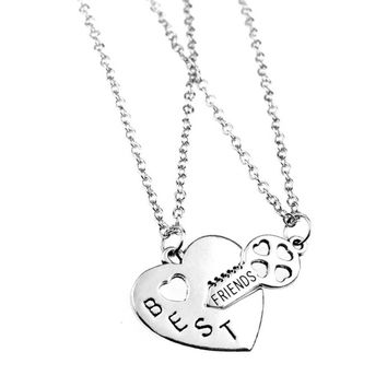 BFF Best Friends 'Heart and Key' Charm Pendant Necklace