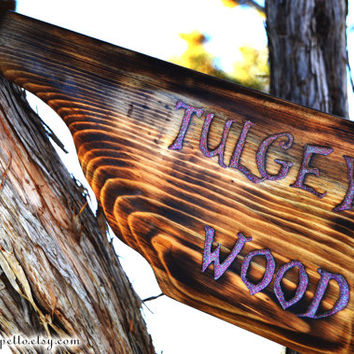 Tulgey Wood, Alice in Wonderland, Hand routed Wood Sign, Wonderland Sign, by The Jolly Geppetto