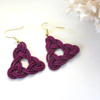 Celtic Triangle Knot Earrings Hand Tied  in Purple Korean Knotting Cord Boho Style Fiber Art Dangles Trinity Three Basic Earth Elements