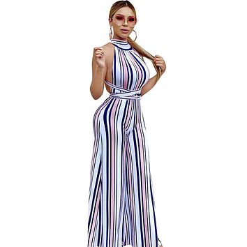 Women's Basic Rainbow Jumpsuit, Striped Backless / Lace up