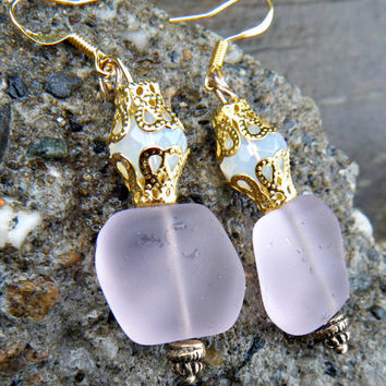 Pretty in Pink. Tumbled Soft Blossoms Sea Glass Earrings. Pink sea glass earrings with  milky white glass beads