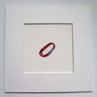 3.5 inch Miniature Watercolour - Red Carabiner.
