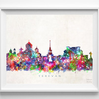 Yerevan Skyline, Armenia Print, Yerevan Poster, Cityscape, Watercolor Painting, Home Art, Wall Decor, City Skyline, Christmas Gift
