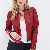 LOVE 21 Quilted Faux Leather Jacket Red
