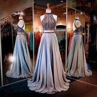 TDHQ Women's Halter Crystals Sequins Beaded Open Back Two Pieces Long Prom Dress Grey US2