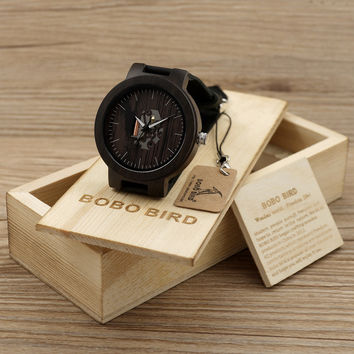 BOBO BIRD Wooden Watches For Men Casual Watch Black Cowhide Leather Strap With Wooden Box Father's Day Gift