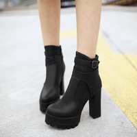 Buckle Ankle Boots Chunky Heel Pumps High Heels Women Shoes Fall|Winter 4775