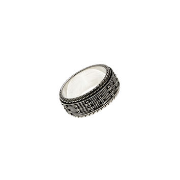Herring Bone Embroidered Sterling Silver Spinner Ring