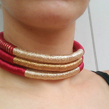 Red Tribe, Choker, Tribal Necklace, Tribal Statement Necklace, Rope Choker, African Necklace, Aztec Necklace, Chokers, African Jewelry, Gift