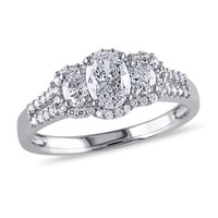 Three Diamond Oval Engagement Ring 1ctw - Size 6