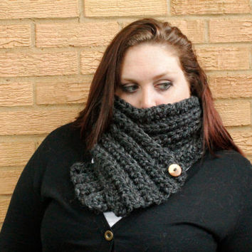 Extra Chunky Crochet Button Scarf, Ribbed Two Way Scarf, Crochet Infinity Scarf, Crochet Scarf in Charcoal, The Rockland Scarf