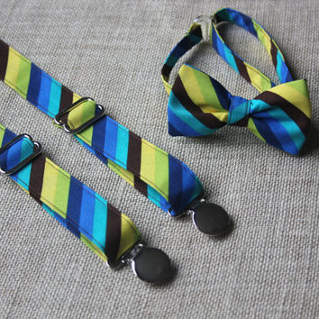 Bright Yellow Green Blue Brown Stripe Bow Tie and Suspenders set  ( Men, boys, baby, toddler, infant Suspender and Bowtie ) outfit
