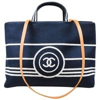 Chanel Dark Blue White Denim 'CC' Striped Shoulder Tote Bag