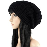 Fashion Caps Warm Autumn Winter Knitted Hats For Women Stripes Double-deck